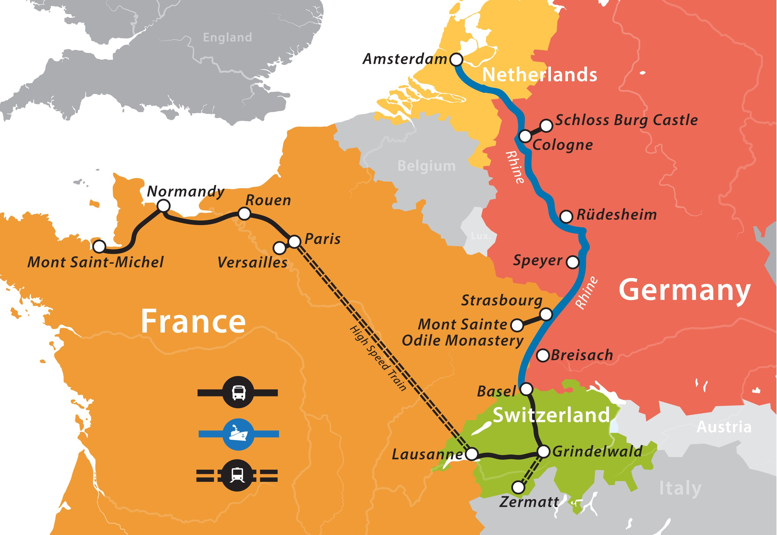 Map Of Germany And Amsterdam.2019 Rhine River Cruise Paris To Amsterdam Fun For Less Tours
