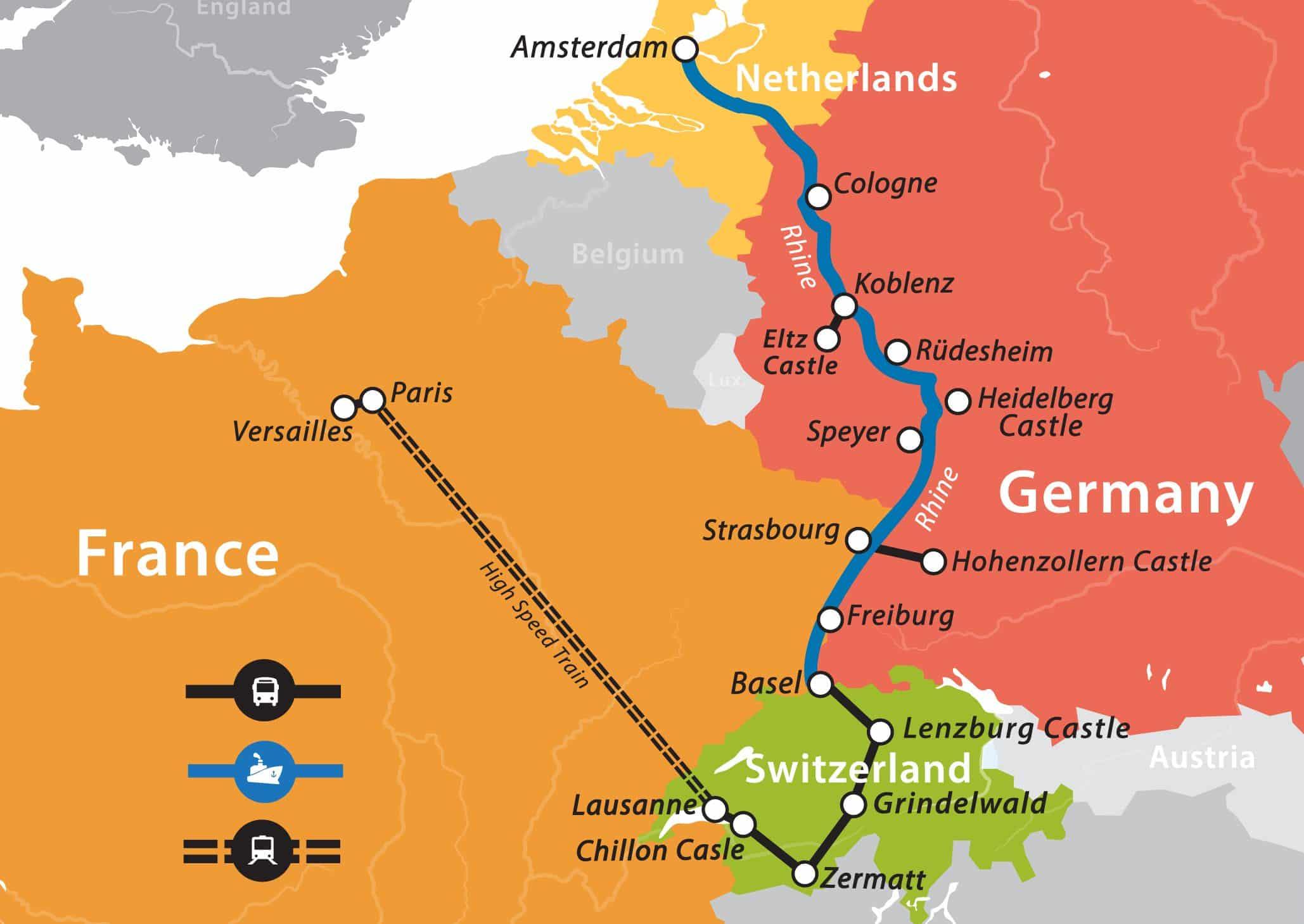 romerhinerivermap.  rhine river cruise paris to amsterdam – fun for less tours