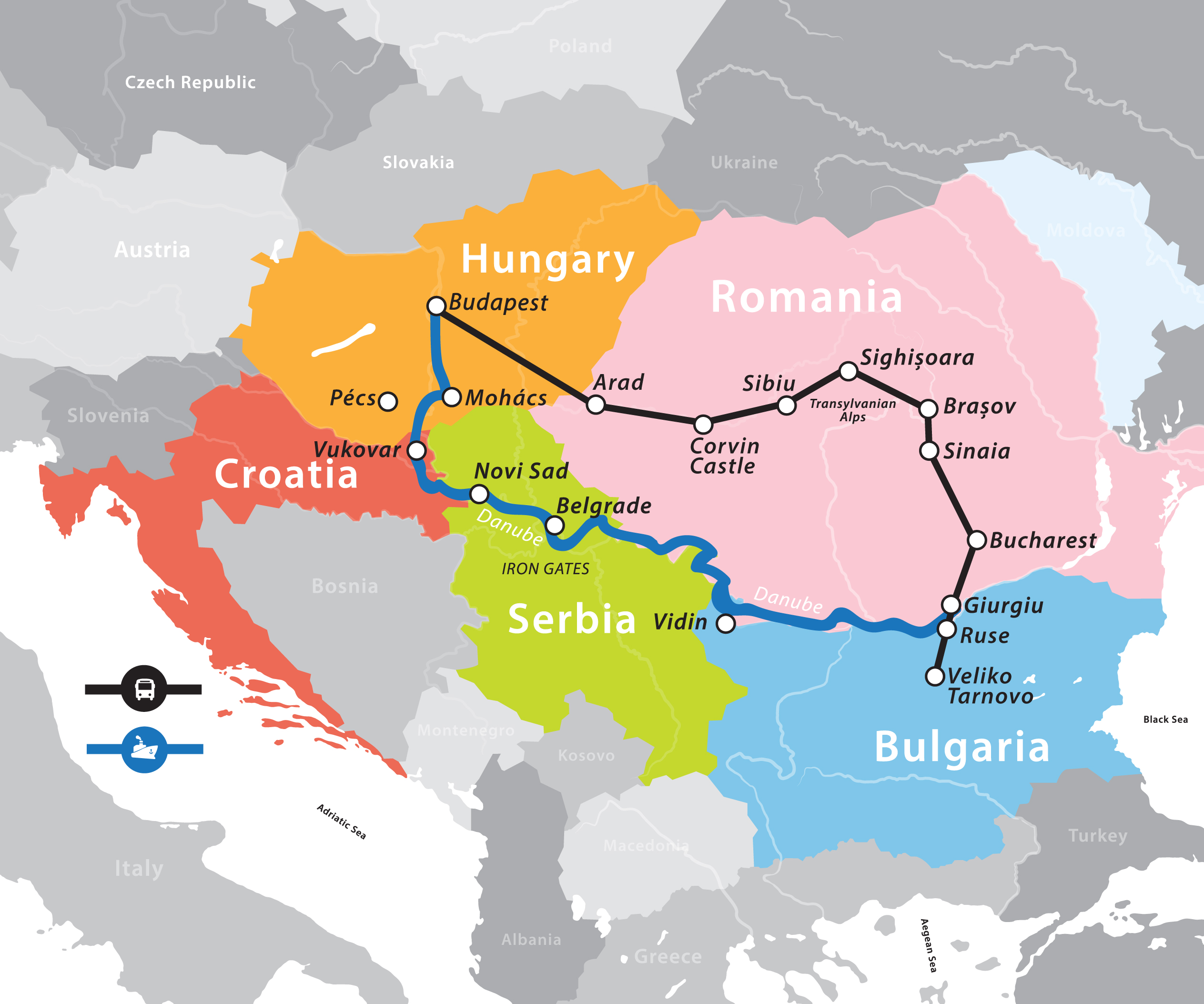 Danube River Cruise Fun For Less Tours - Danube river on world map